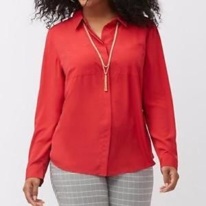 🌺LANE BRYANT Button Down Top-Red-Polyester-26/28